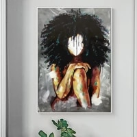 african black women fluffy hair art canvas painting posters print wall art picture for living room home decoration cuadros