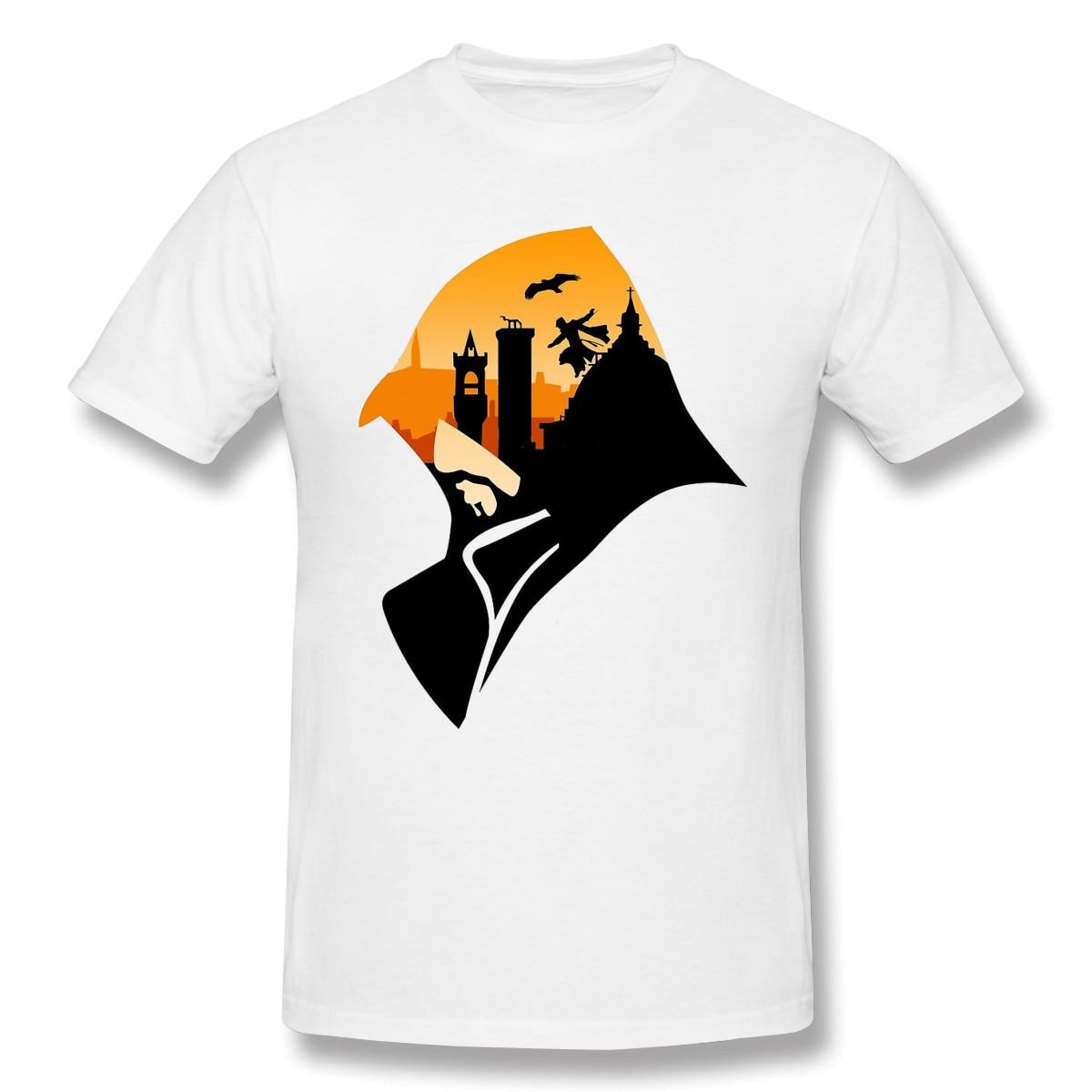 Camiseta básica con estampado de atardecer en Florencia para hombre, camiseta con diseño divertido de assassins creed, ropa de calle estampada para hombre, Top envío gratis