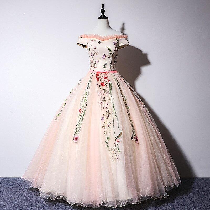 Gryffon Quinceanera robe à épaules dénudées étage longueur fête bal hôte robe de bal luxe dentelle Solo robes de Quinceanera