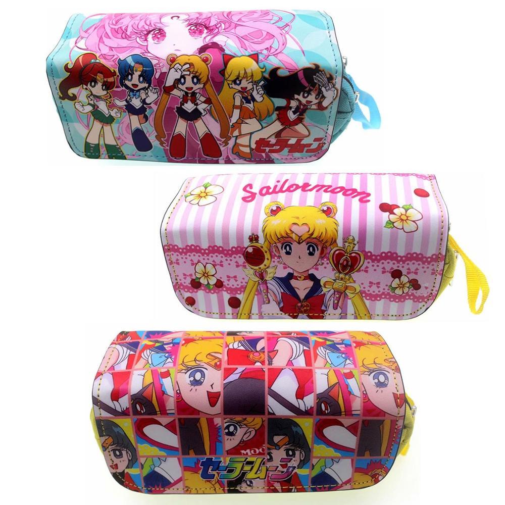 Sailor Moon pluma lápiz bolsa personajes de dibujos animados Tsukino Usagi Cartera doble cremallera papelería bolsas monedero niños carteras de cuero