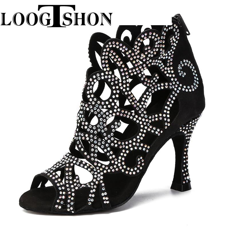 Туфли Loogtshon женские для латиноамериканских танцев, кожаные атласные блестящие туфли больших и маленьких стразы, танцевальные туфли с раскл... туфли блестящие с цветочком темно синий
