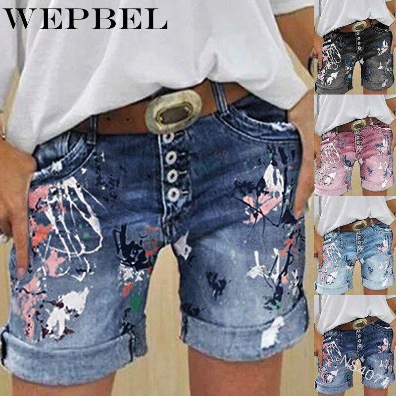 WEPBEL джинсовые шорты, летние крутые повседневные шорты с дырками в свернутом виде, женские модные забавные джинсы с принтом