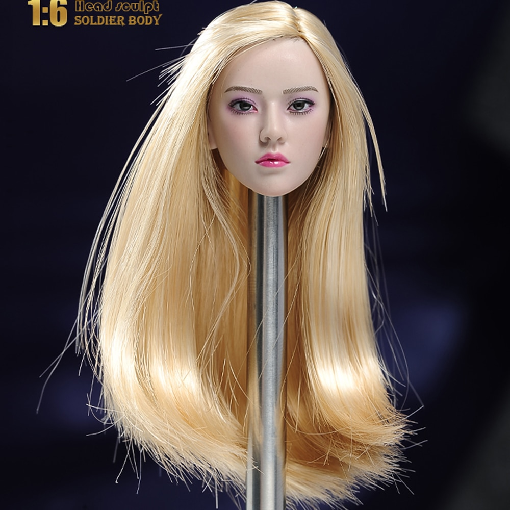 1/6 Blonde Head Sculpture Female Beauty Soldier Head Carving For 12'' PH TBL Action Figure Body In Stock in stock gc018 1 6 scale beauty european girl head sculpt ivanka trump head carving toy 4 styles for 1 6 female action figure