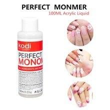 Kodi 100ml acrylique liquide 3D ongles conseils ongles constructeur parfait monomère clair rose blanc cristal acrylique poudre pour prolonger