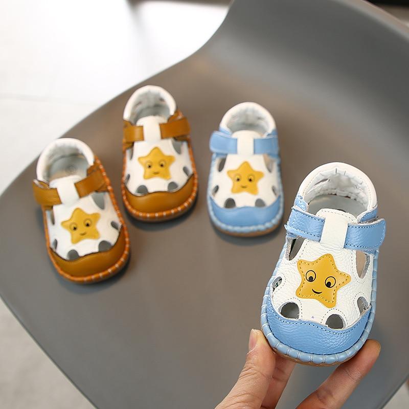 2020 Baby Girls Boys Summer Sandals Soft Bottom Genuine Leather Kids Children Beach Sandals Infant Anti-collision Toddler Shoes