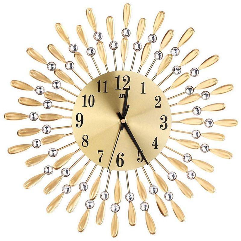 15 inch 3D Large Wall Clock Shiny Rhinestone Sun Style Modern Living Room Decor (Gold)