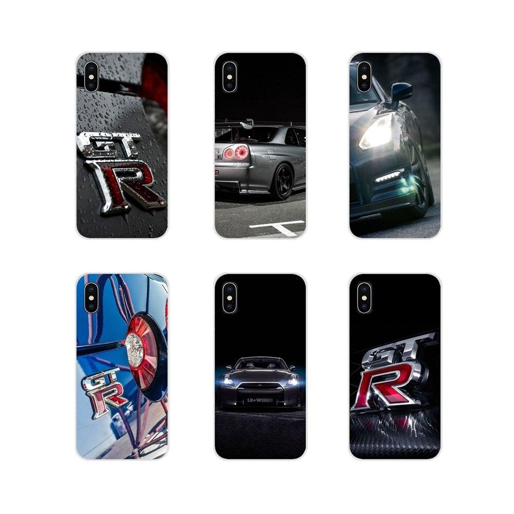 Para huawei g7 g8 p8 p9 p10 p20 p30 lite mini pro p inteligente mais 2017 2018 2019 jdm carro nissan gtr metal logotipo tpu transparente capa