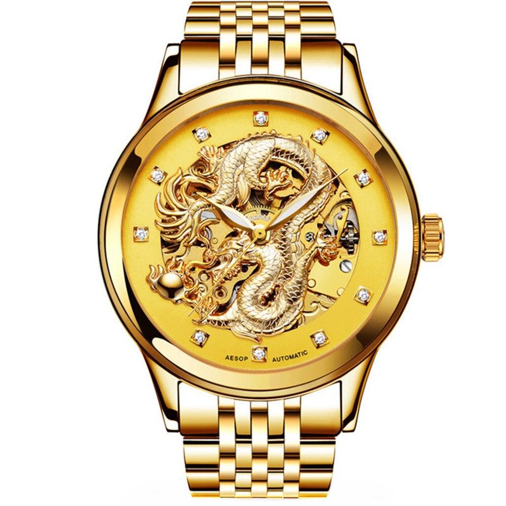 AESOP-ساعة يد ميكانيكية للرجال ، هيكل عظمي ، أوتوماتيكية ، ذهبية ، عتيقة ، للرجال ، ماركة فاخرة ، مضيئة