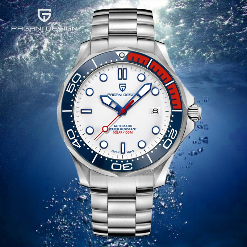 PAGANI تصميم العلامة التجارية الفاخرة الفاخرة 007 التلقائي الرجال الساعات الفولاذ المقاوم للصدأ 100 متر مقاوم للماء NH35A الميكانيكية الرجال ساعة م...