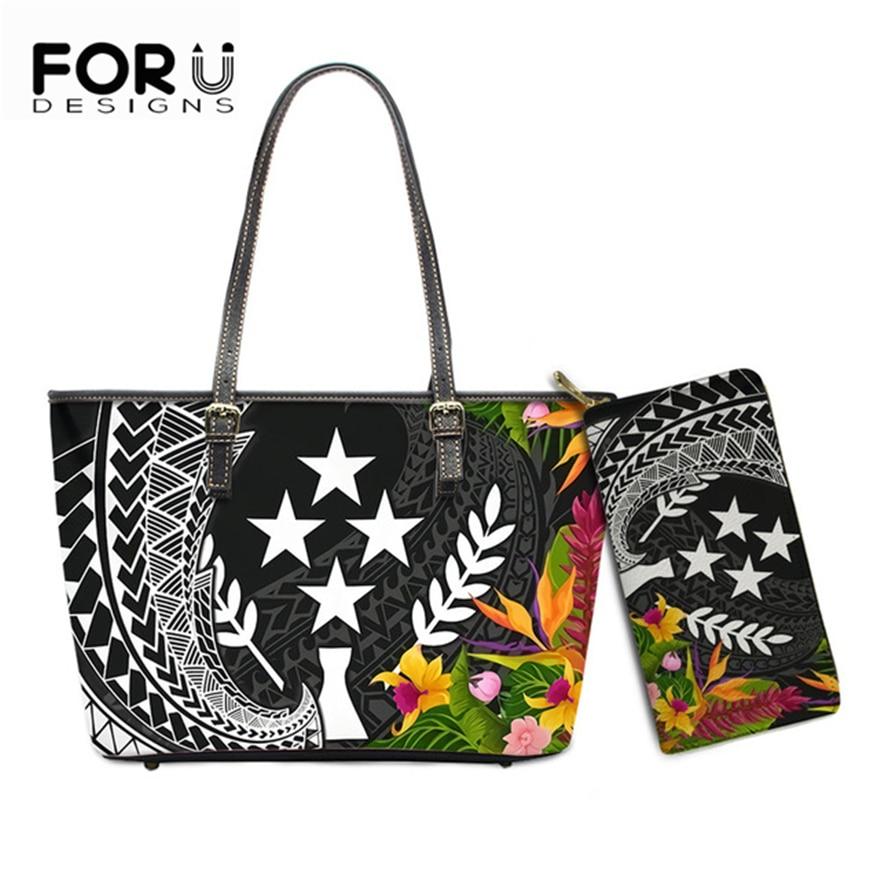 Luxuluxury مصمم حقيبة يد للنساء 2021 Kosrae البولينيزية المطبوعة الكتف المحافظ مع محفظة للسيدات جلد حمل