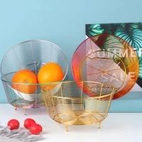 stainless steel round fruit storage basket large capacity home snacks vegetables sundries drain basket kitchen organizer holder