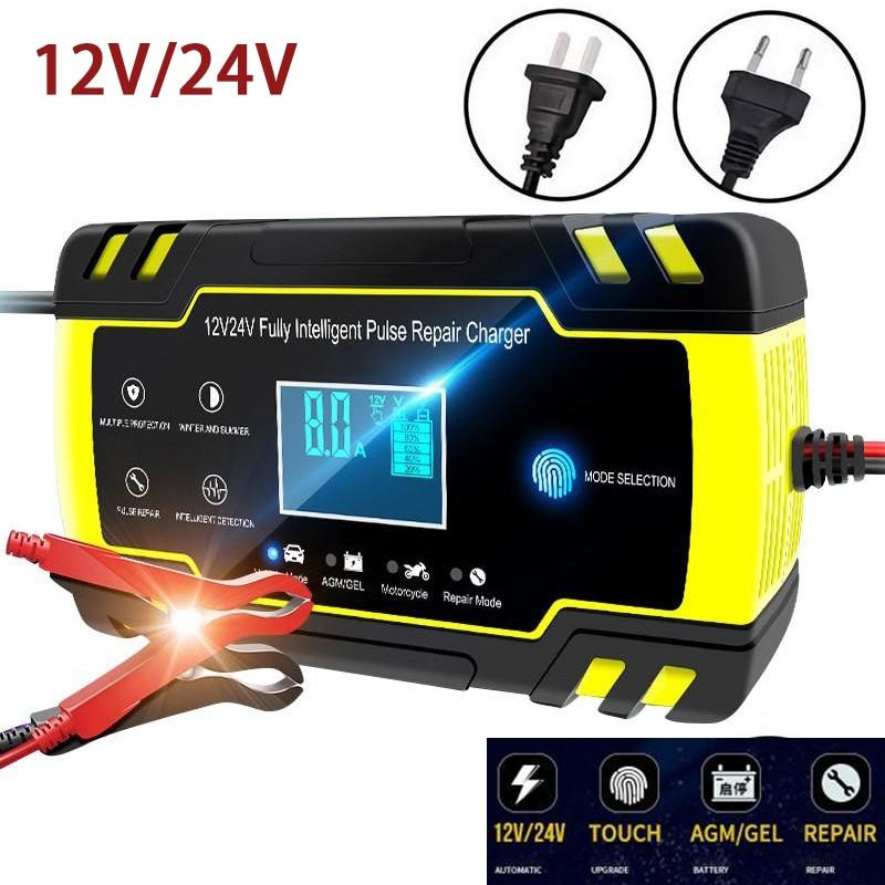 Touch-Taste Auto Batterie Ladegerät 12 V/8A 24 V/4A Automatische Puls Reparatur Smart Schnelle Ladegeräte Für AGM GEL Nass Trocken Blei Säure Batterie
