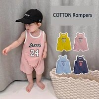summer sleeveless cotton jumpsuit for baby basketball rompers sports outfit for newborns infants boys and girls vest bodysuit