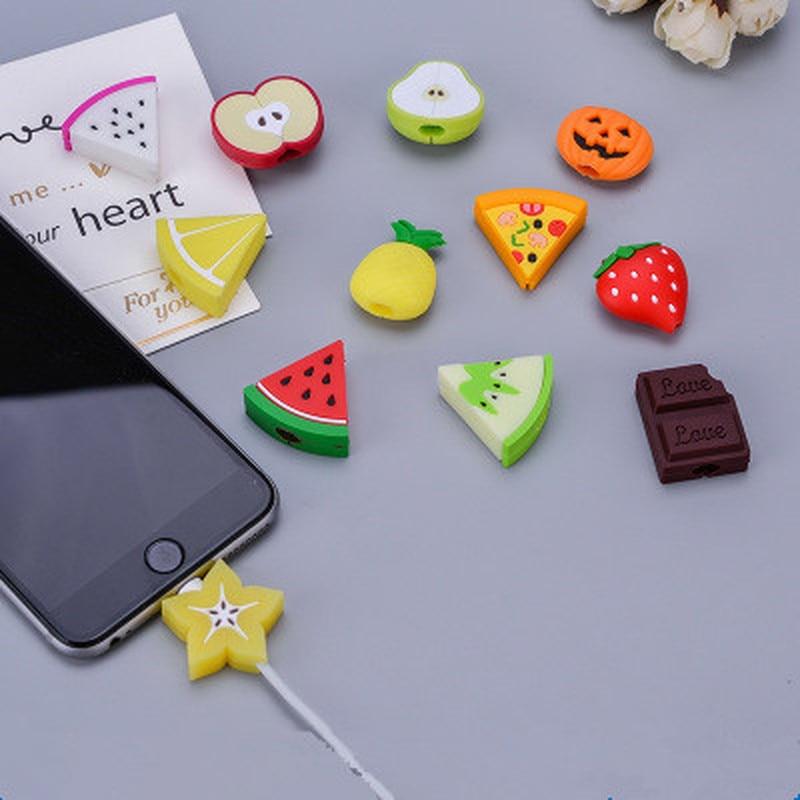 Милый защитный кабель для Iphone с изображением фруктов, usb-органайзер для кабеля, зарядное устройство, держатель для проводов, кабель для игрушек, Забавный