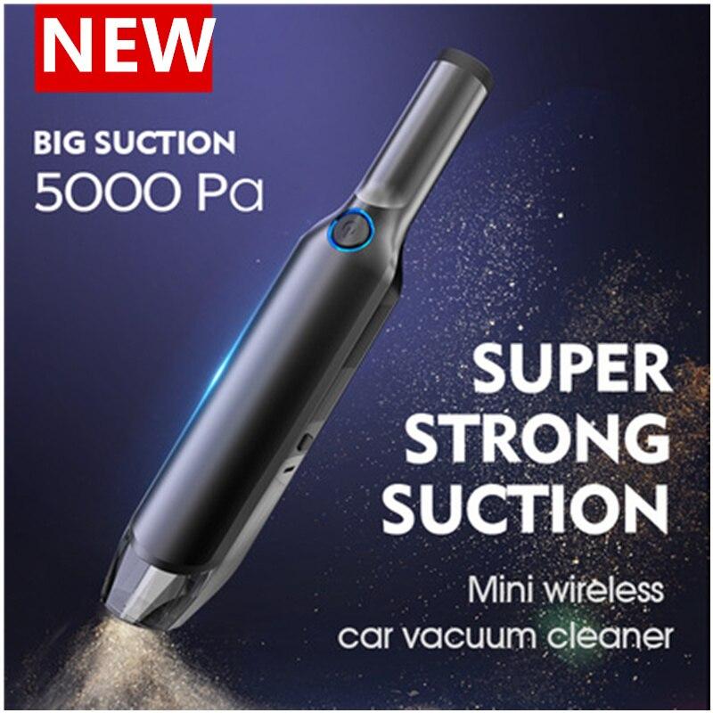 5000 Pa портативные беспроводные мини-Пылесосы с сильным всасыванием 60 Вт Мощный влажный и сухой портативный автомобильный пылесос для дома