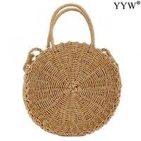 2021 summer round straw bags for women ladies rattan shoulder bag handmade woven beach handbags female message handbag totes bag