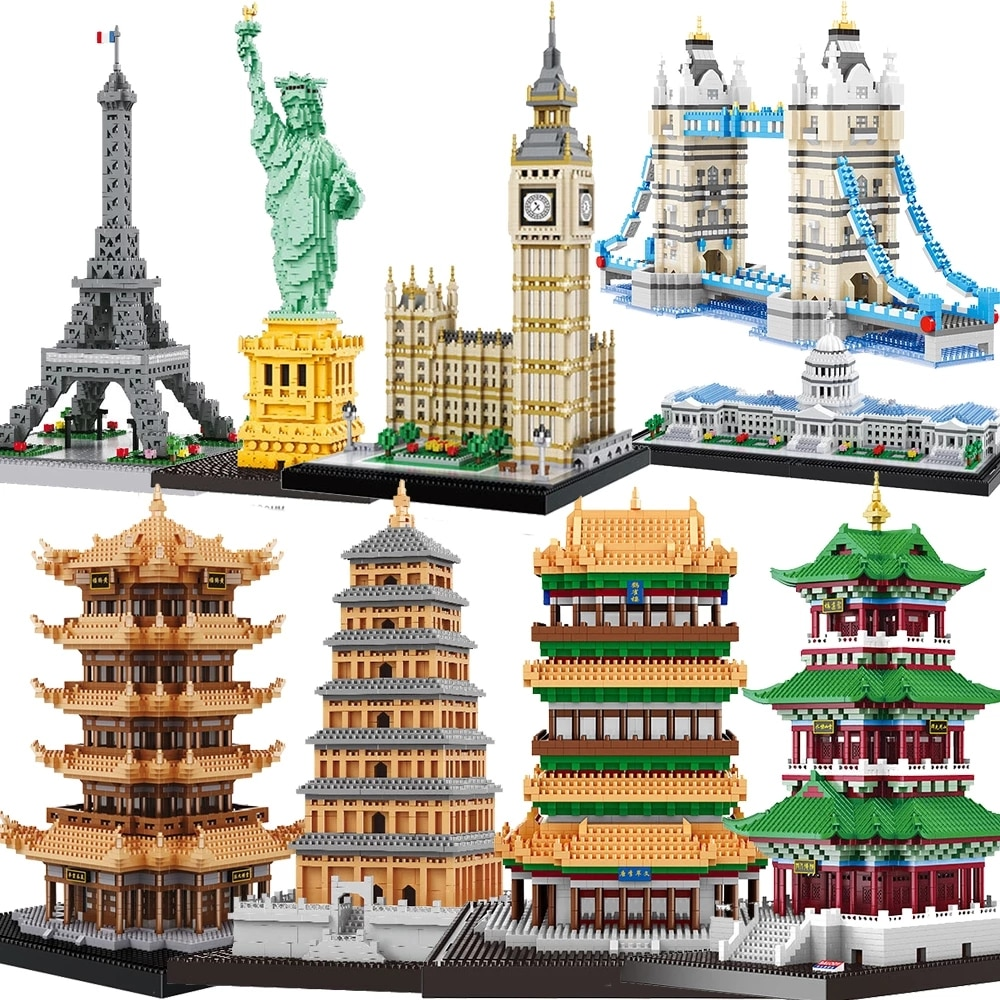 in stock lepin sets 16010 2430pcs lord of the rings figures the tower of orthanc model building kit blocks bricks kid toy 10237 Balody Mini Architecture Statue of Liberty blocks model building kit capital Paris Eiffel Tower Big Ben micro bricks expert sets