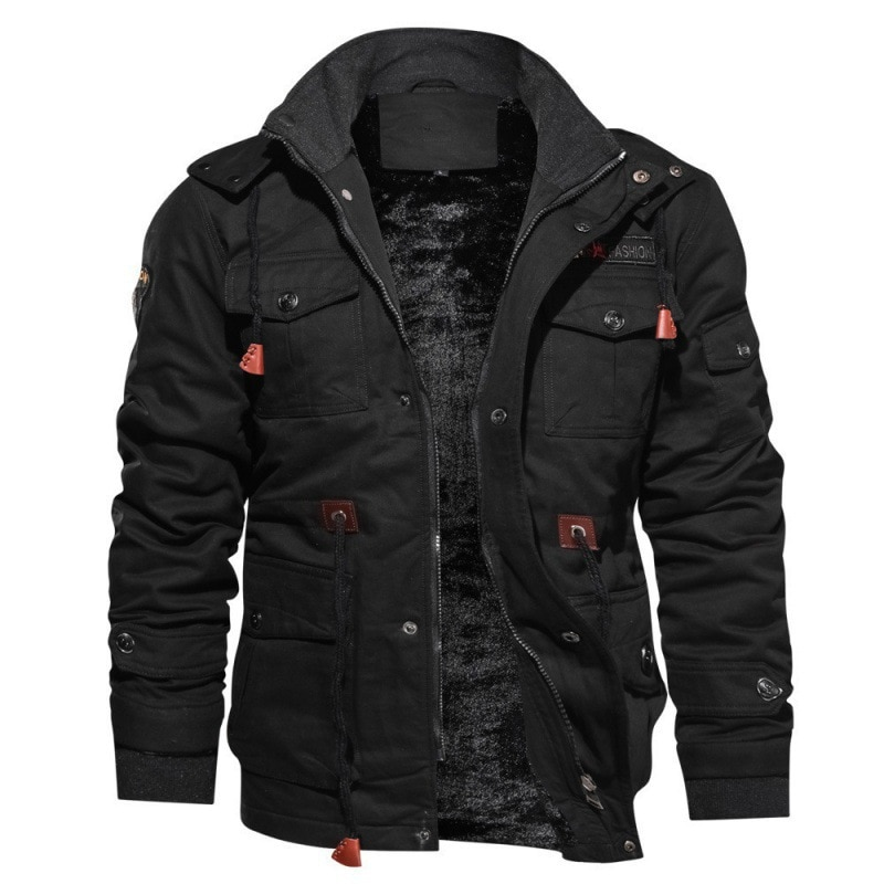 Mens Fleece Jackets Warm Hooded Coat Thermal Thick Outerwear Male Military Jacket Brand Plush Thickening Clothing Winter