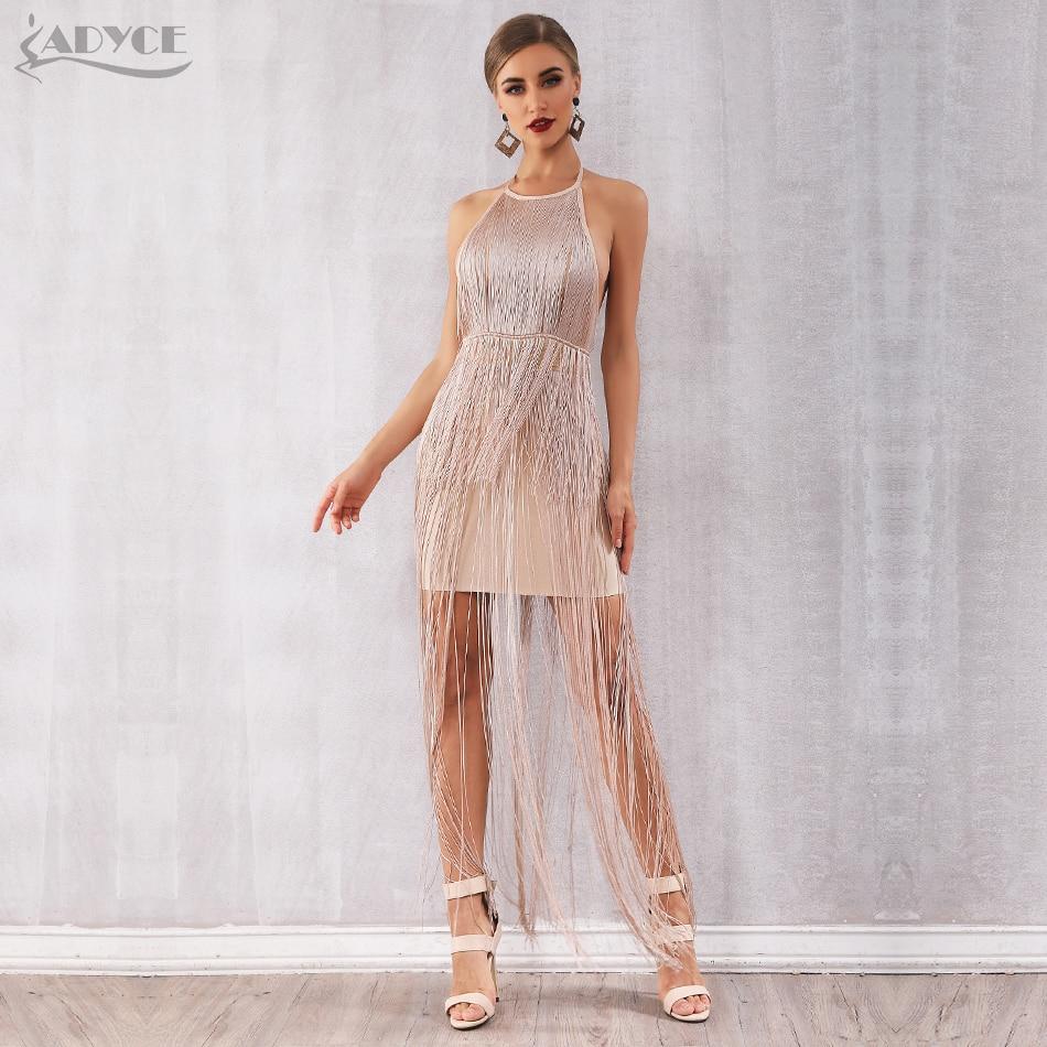 Adyce 2020 Nova Franja Verão Runway Mulheres Vestido Bandage Vestidos Sexy Celebridade vestido de Noite Vestido de Festa Maxi Nu Borlas Clube Vestido