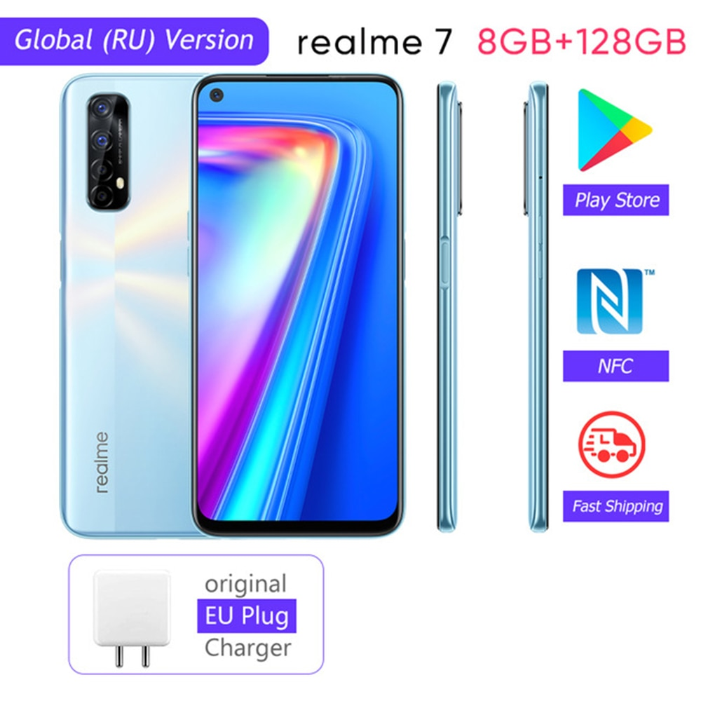 Realme 7 Global Version Mobile Phone 48MP 8GB RAM 128GB ROM Helio G95 Octa Core Gaming Phone 30W Fast Charge 5000mAh Smartphone