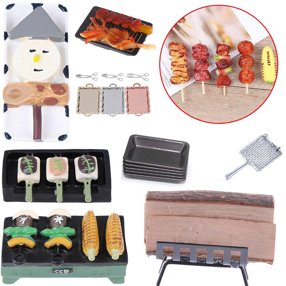 Parrilla de barbacoa para cocina, ensalada para hornear, barbacoa de bistec, rejilla de pescado a la parrilla, bandeja con rejilla, bandeja para leña, casas de muñecas, accesorios para casa de muñecas