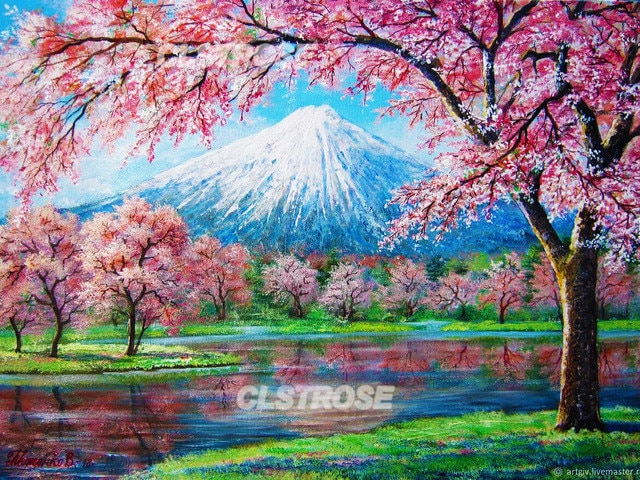 Diy Diamond Painting Pink Cherry Blossoms and Snow-White Mountain Scenery Stickers Rust Diamonds Home Decoration Wall Square  - buy with discount