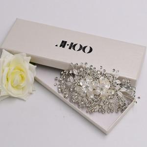 JHOO Bridal headpieces in the nature of ornamental hair combs,Silver Crystal Rhinestones Hair Comb Wedding Hair Accessories