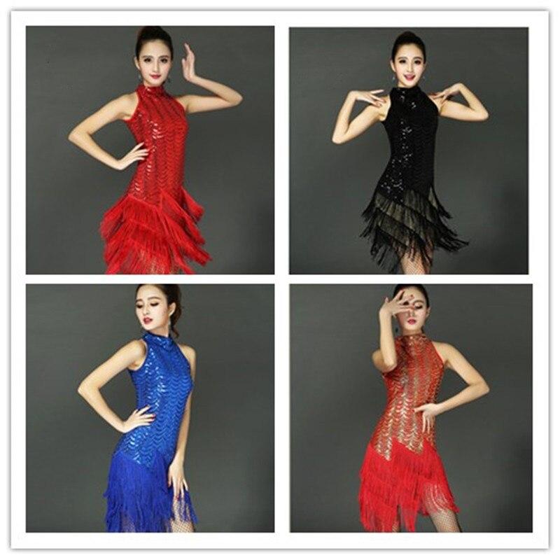 اللاتينية فستان رقص قاعة الصلصا سامبا رومبا تانجو سوينغ إيقاع راقصة زي النساء شرابة الترتر فستان رقص
