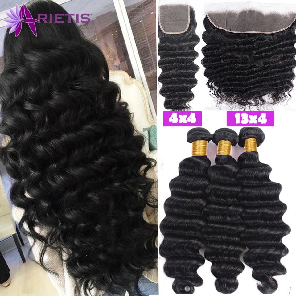 28 38 40 Inches Loose Deep Wave Bundles with Closure Peruvian Remy Hair 3/4 Bundles With Closure and Frontal Natural Black