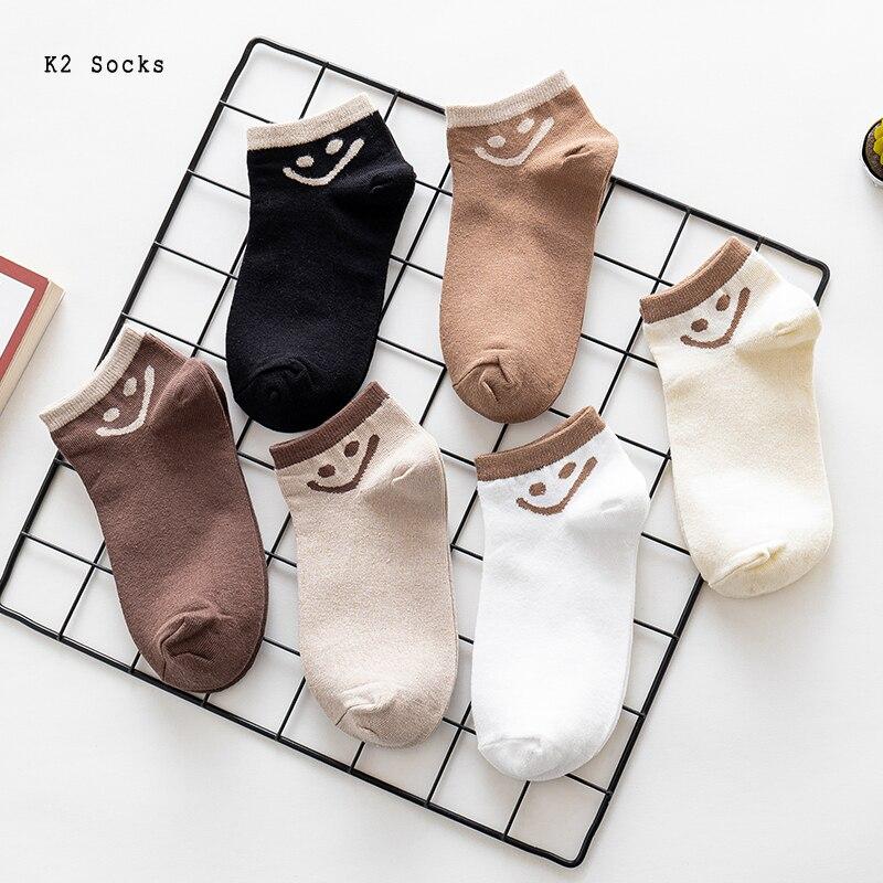 Забавные кавайные модные короткие носки со смайликом хлопковые простые выражения Харадзюку хип-хоп японские мягкие счастливые мужские и ж...