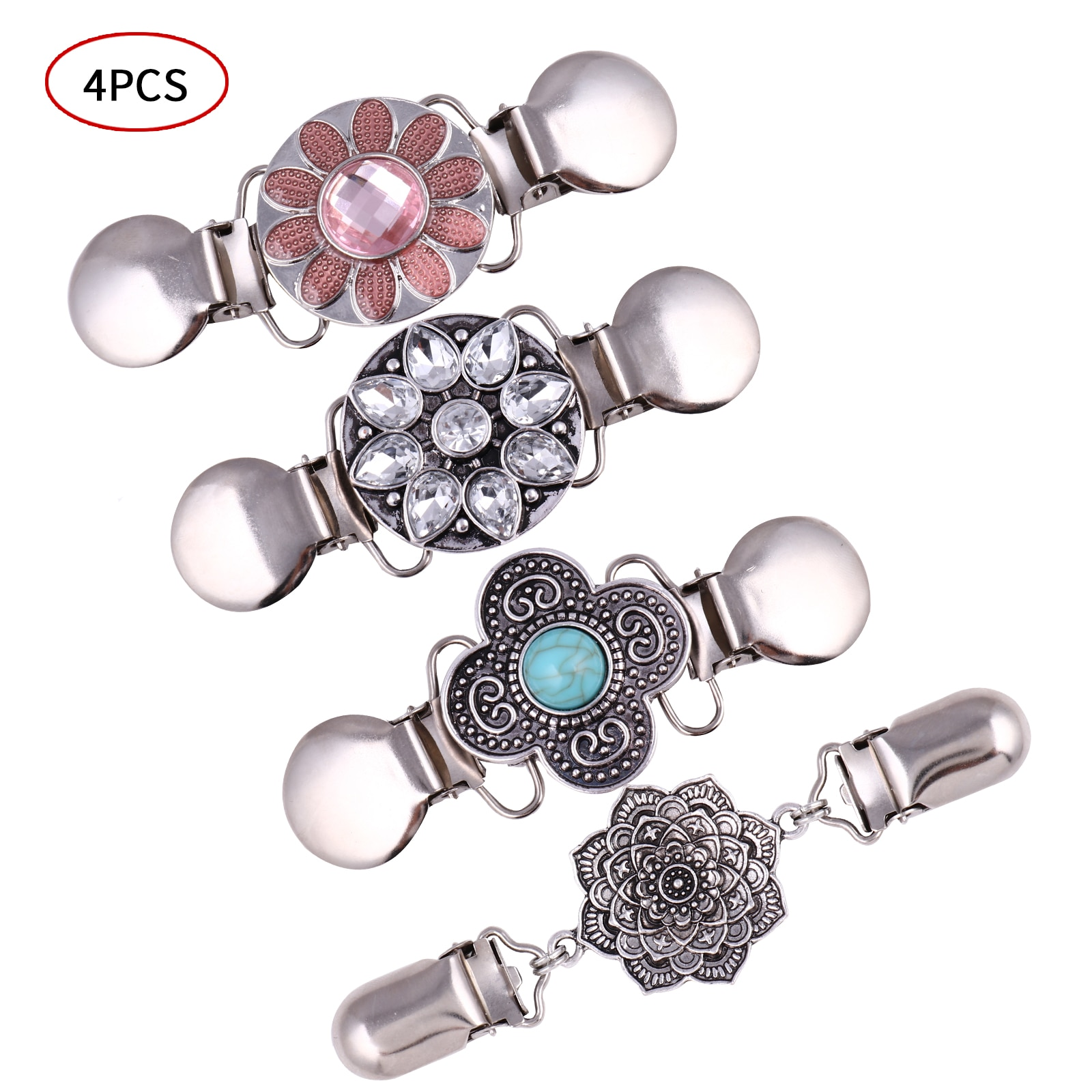 4Pcs Cardigan Shirt Clips Clasps Women Vest Sweater Shawl Duck Clips Retro Flower Shaped Buckle Pins DIY Clothing Brooch Clasp