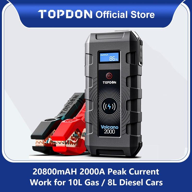 20800mAh Topdon سيارة الانتقال كاتب V2000 1200A بدء جهاز بنك طاقة لاسلكي بطارية السيارة بداية قاذفة للسيارة الداعم