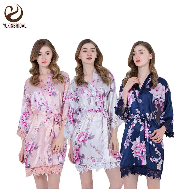 YUXINBRIDAL Floral Robes with lace trim Floral Satin Silk Bridal  bride bridal bridesmaid Kimono Robes party robe  bride robe 02 purple tease v neck floral lace trim robe with thong