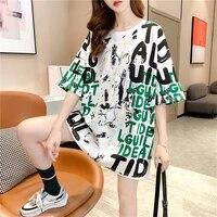 2021 news women t shirt short sleeve loose letter graffiti summer casual student fashion base clothes tops t shirt