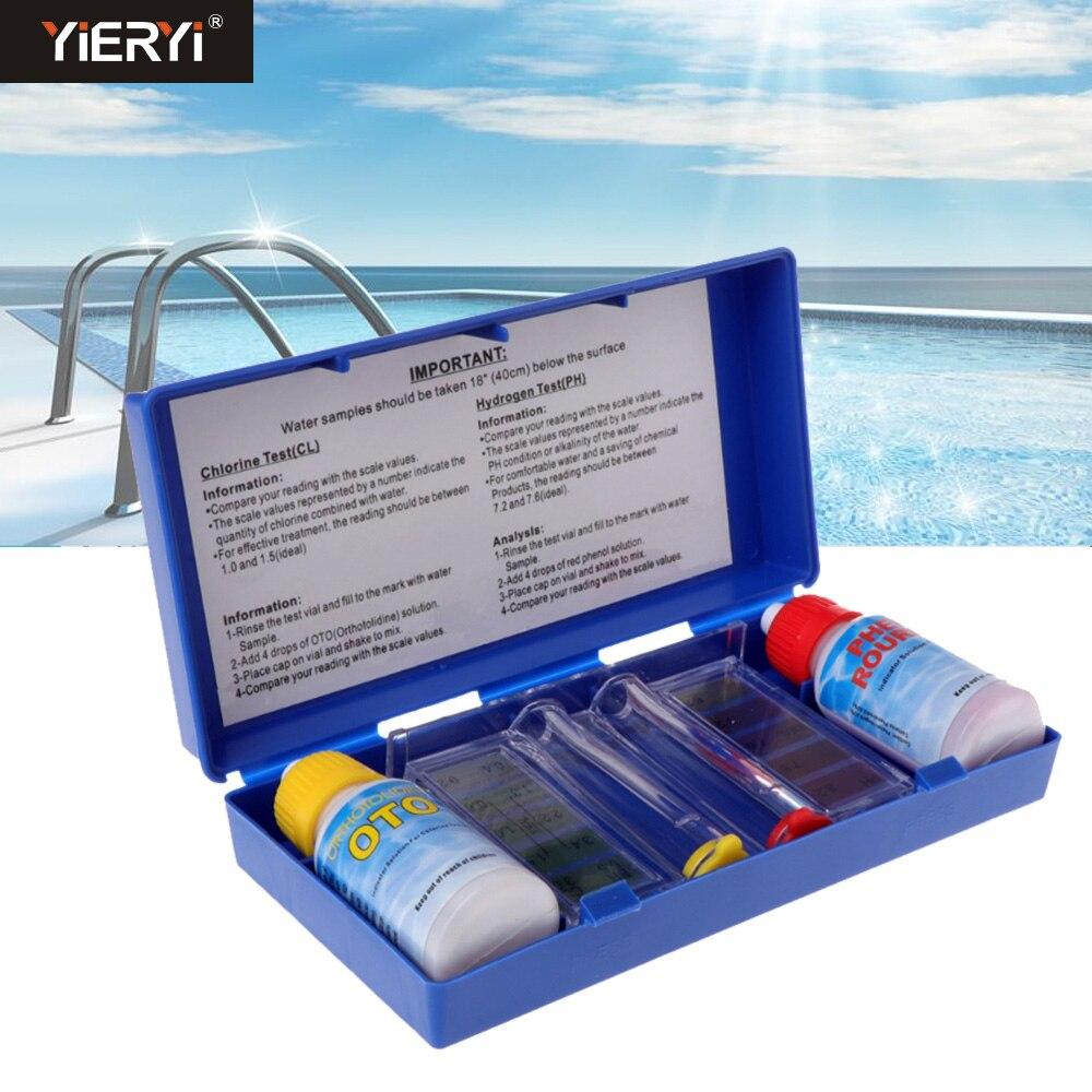 1Set PH Chlorine Water Quality Test Kit Tester Hydrotool Aquarium Tester Swimming Pool Hydroponics Aquarium Accessories 2 in 1 chlorine tester water quality ph