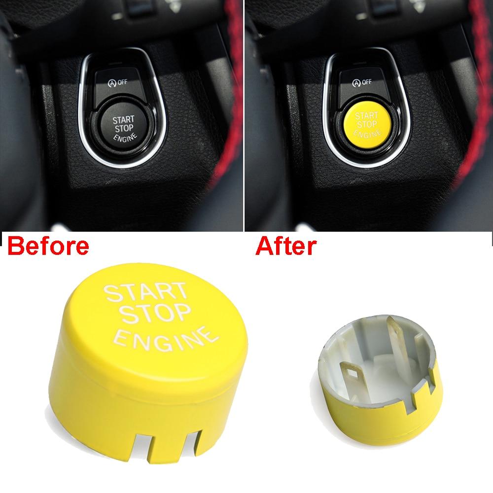 Nuevo y de alta calidad, interruptor de botón de arranque y parada de motor de coche, cubierta amarilla para BMW serie 1234567