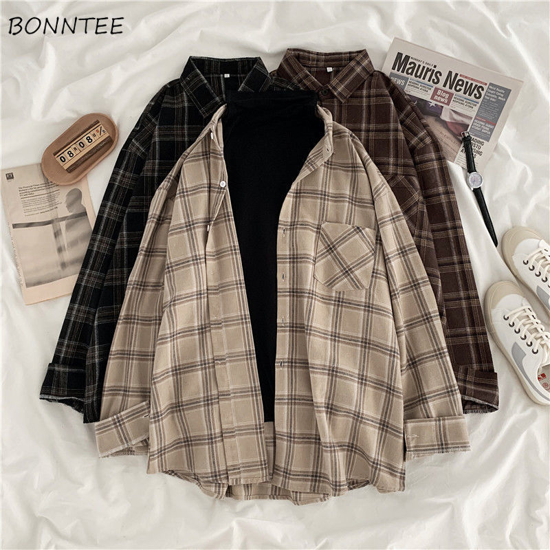 Women Shirt Plaid Oversize 3XL Turn-down Collar Leisure Fashion Loose All-match Womens Long Sleeves