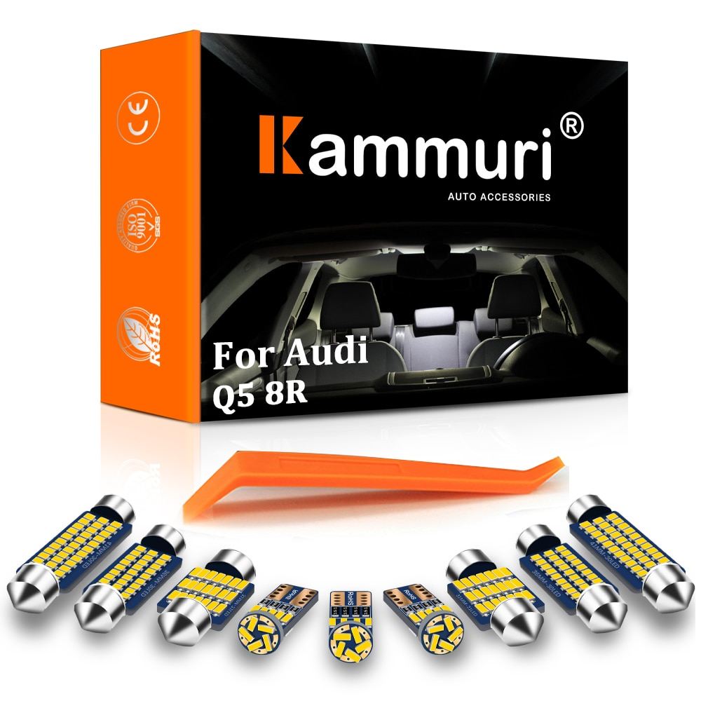 KAMMURI 14x لا خطأ الأبيض LED سيارة مصابيح داخلية مجموعة حزمة لأودي Q5 8R 2008 - 2015 2016 2017 2018 2019 LED الداخلية ضوء