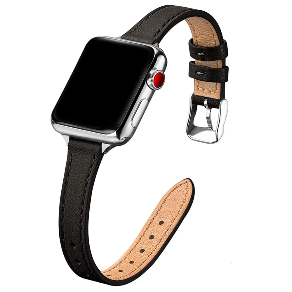 For apple watch 6 se 40mm 44mm band Slim Leather strap for iwatch series 7 6 5 4 3 38mm 42mm bands w