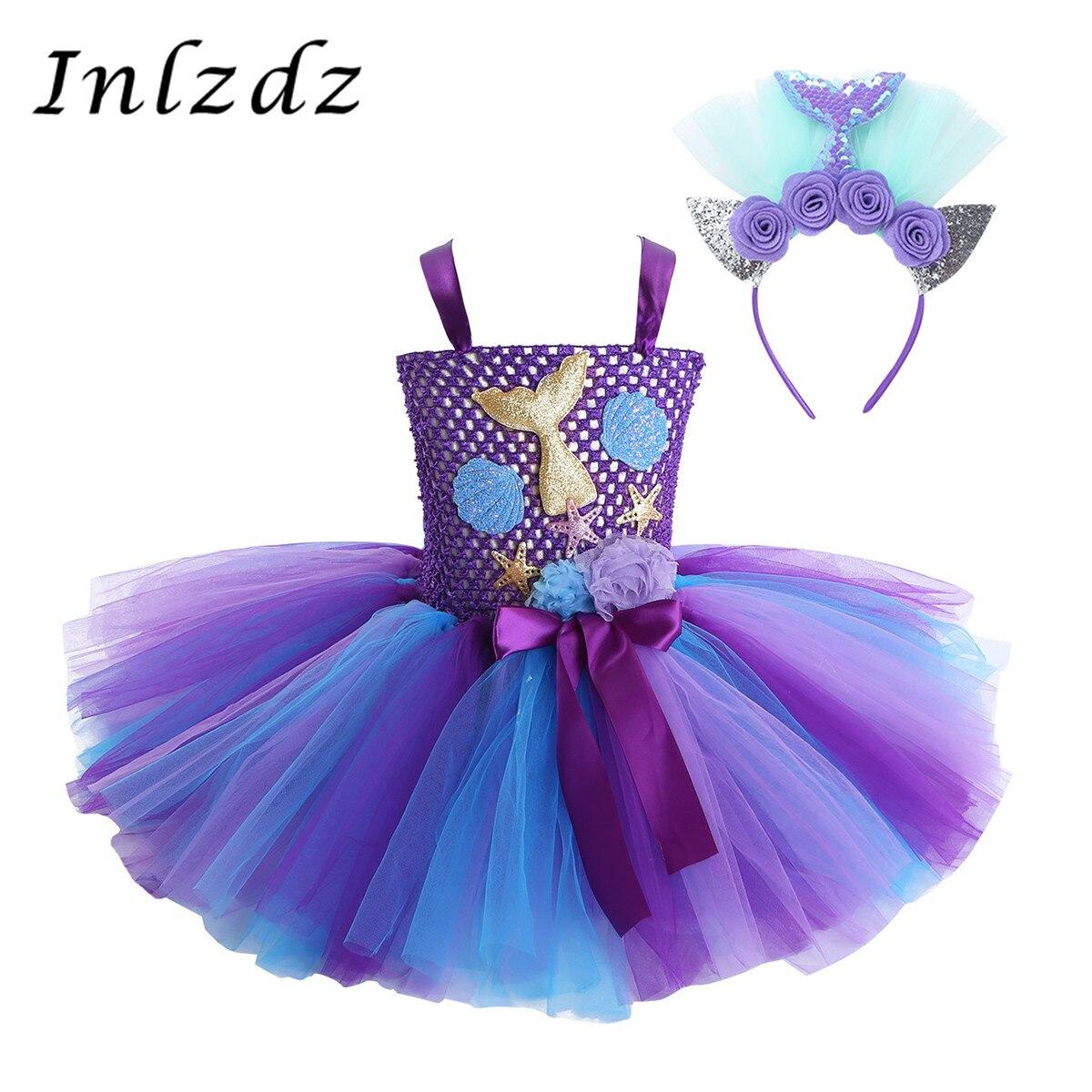 Traje de carnaval de sereia para meninas, cosplay, roupa, rabo de sereia, vestido tutu com arco de cabelo, para halloween, roupas de jogo