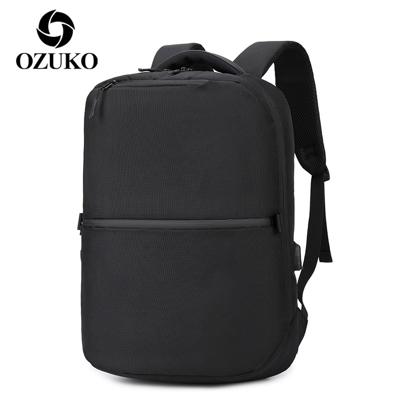 OZUKO-حقيبة ظهر للكمبيوتر المحمول للرجال ، حقيبة ظهر مدرسية مقاومة للماء ، مع شحن USB ، حقيبة سفر ، أعمال ، تصميم جديد 2021