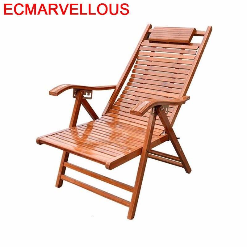 Tumbona Plegable de bambú Para Sala de estar, sillón Reclinable Para relajarse, Cama de día