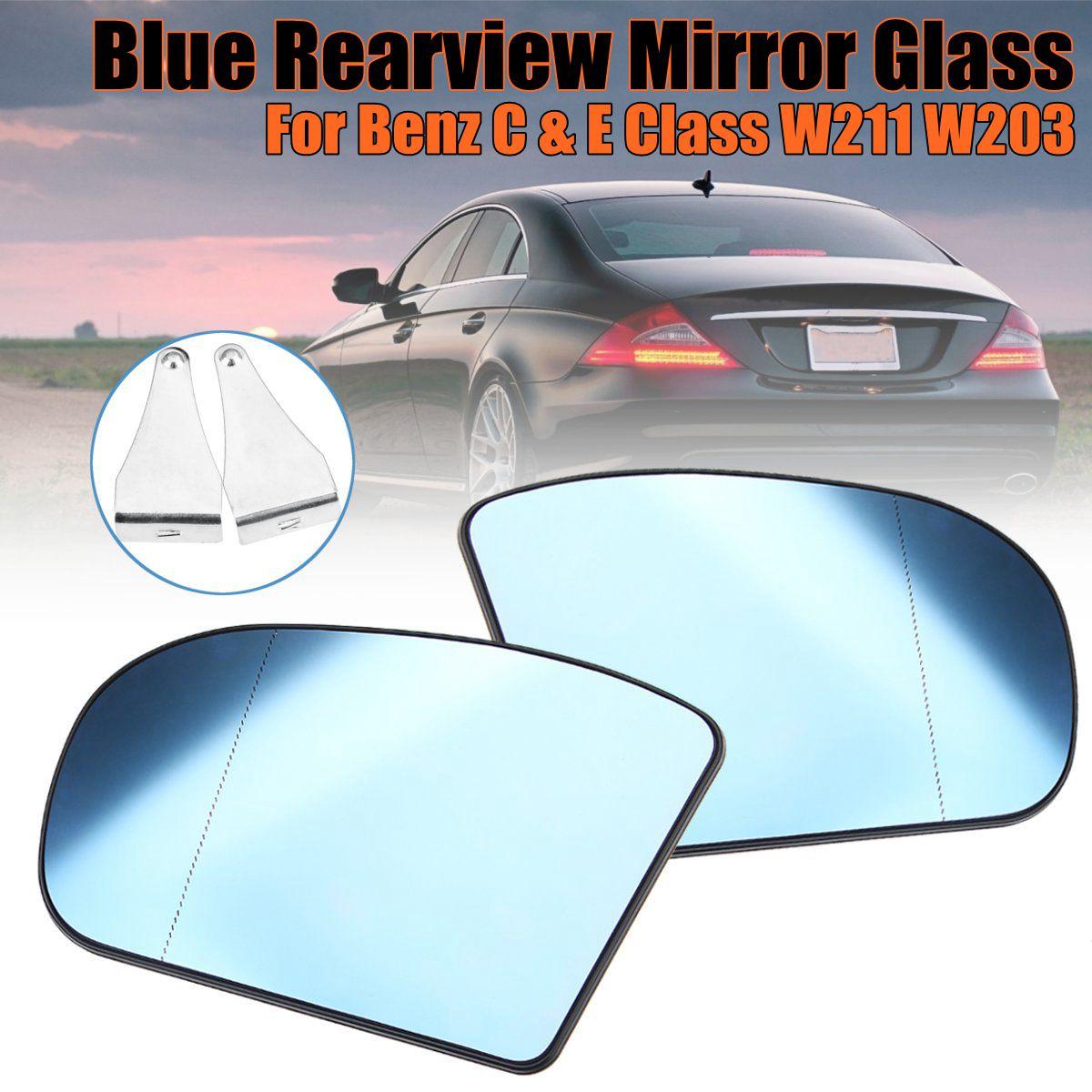 Coche de espejo retrovisor lateral de vidrio azul Anti-deslumbramiento espejo retrovisor térmico de vidrio para Mercedes Benz Clase C y E W211 W203