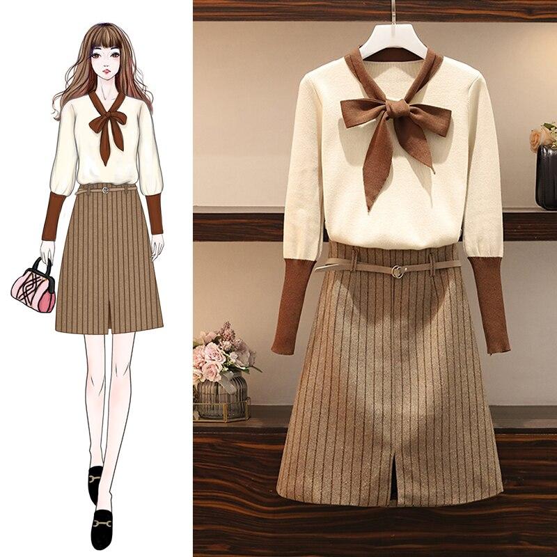 جديد الخريف الشتاء حجم كبير L-4X نمط المرأة الزي قطعتين الملابس مجموعة البلوز القوس سترة و شريط تنورة دعوى محبوك الملابس