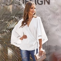 yikuo womens summer blouses chiffon shirt top solid color v neck trumpet sleeve waist belt top female