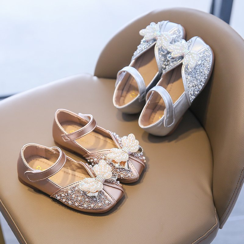 2021 New Baby Girls Wedding Party Shoes Gold Sliver Pearl Low Heel Leather Shoes Bling Butterfly-knot School Girl Shoes D12283