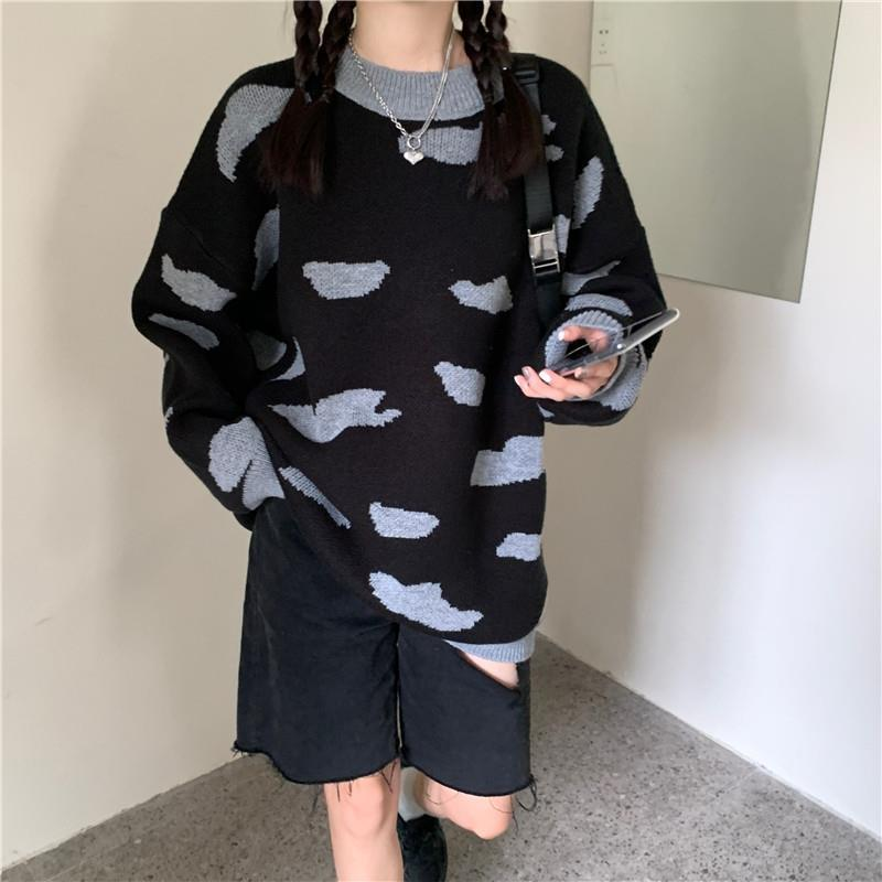 Autumn and winter new lazy style loose and thin T-neck sweater for female students enlarge