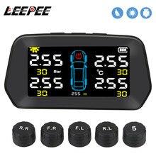 LEEPEE Car TPMS Solar Tire Pressure Monitoring Digital LCD Display Alarm Sensor Solar Power Auto Sec