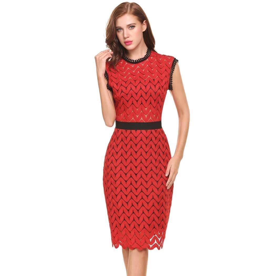 Vestido de verano sin mangas, novedad en vestidos para mujer de estilo clásico de cuello redondo, Túnica con huecos de encaje y Espalda descubierta, vestido de fiesta con forro