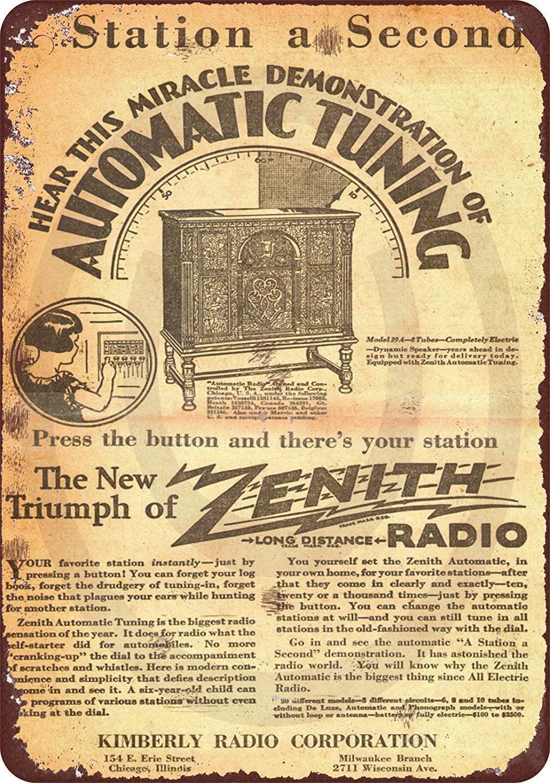 Zenith Radio mira Retro de Metal Placa de letrero de estaño cartel...